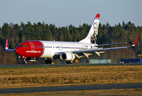 Norwegian-maskin ved landing. Fotograf: Hans Olav Nyborg/Norwegian