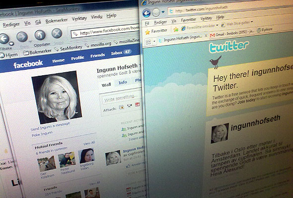 Ingunn Hofseths Facebook- og Twitter-profiler