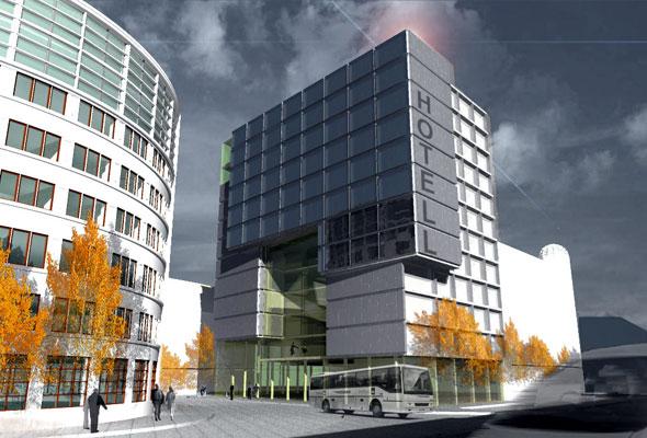 En modell av Ricas hotell i Lars Hilles gate, Bergen, som skal være på plass i løpet av mai 2012.