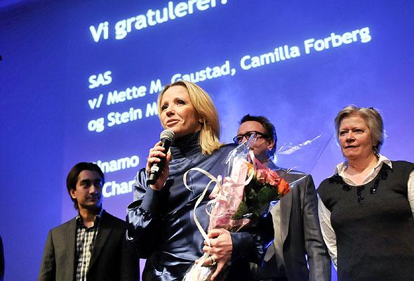 Representanter for SAS under prisutdelingen på HSMAI-prisfesten. Fotograf: Catharina Wandrup/Knut Joner