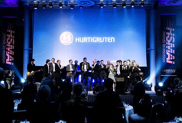 Representanter for Hurtigruten under prisutdelingen på HSMAI-prisfesten. Fotograf: Catharina Wandrup/Knut Joner