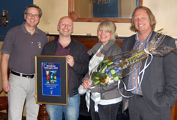 Ole Warberg, reiselivsdirektør i Bergen, Frank Nes og Kjersti Vikør fra Bergen Live og styreformann Trond Tystad i Bergen Reiselivslag.