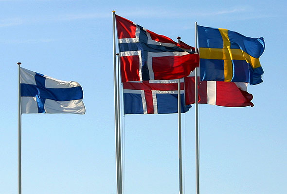 Nordiske flagg. Fotograf: Malene Thyssen, Wikimedia Commons