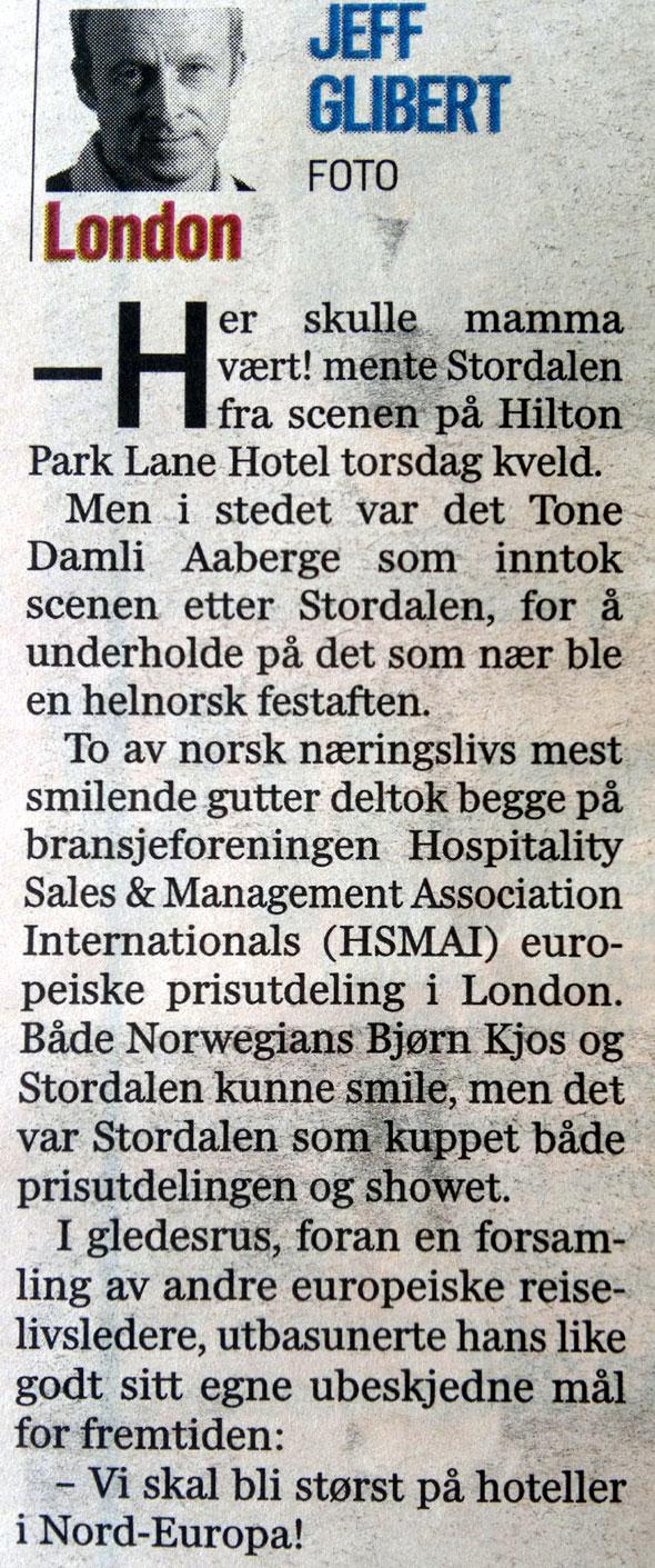 Faksimile fra Dagens Næringsliv lørdag 7. mai 2011