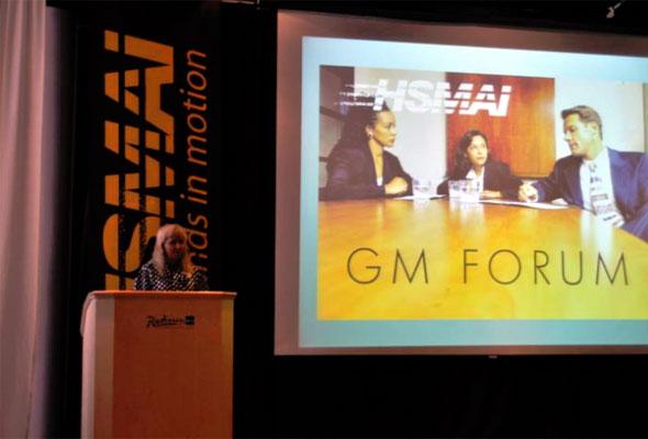Toril Flåskjær ønsket velkommen til HSMAI GM Forum i Oslo onsdag 31. august 2011.