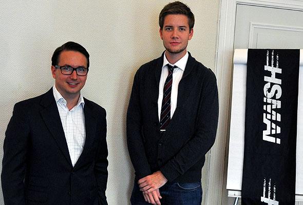Wilko Weber (Swiss Hospitality Solutions), leder i HSMAI European Academy sammen med Hans Stenseng, leder i HSMAI Student, i HSMAIs lokaler i Oslo.