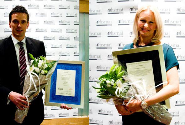 Lovisa Hegborn og Kjetil Engum, henholdsvis Årets Unge Leder i Reisebransjen og Årets Unge Hotelier 2012.