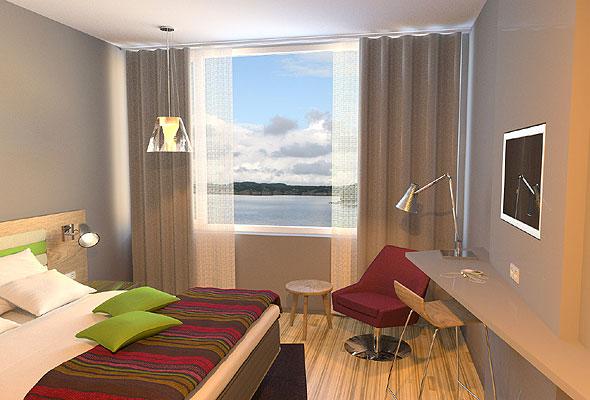 Et av de nye rommene ved Thon Hotel Hammerfest. Illustrasjon fra Thon Hotels