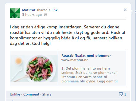 Faksimile fra Matprats Facebook-side