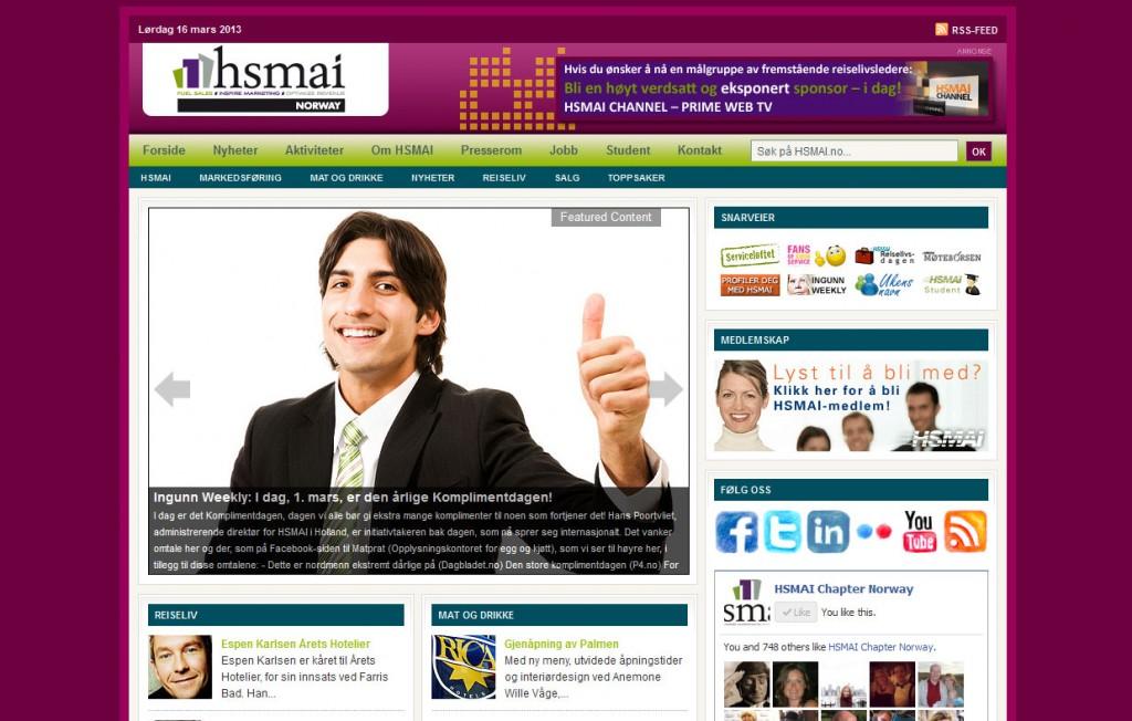 HSMAI tar farvel med de gamle nettsidene (over) i april 2013, til fordel for en sprekere og mer tidsriktig design.
