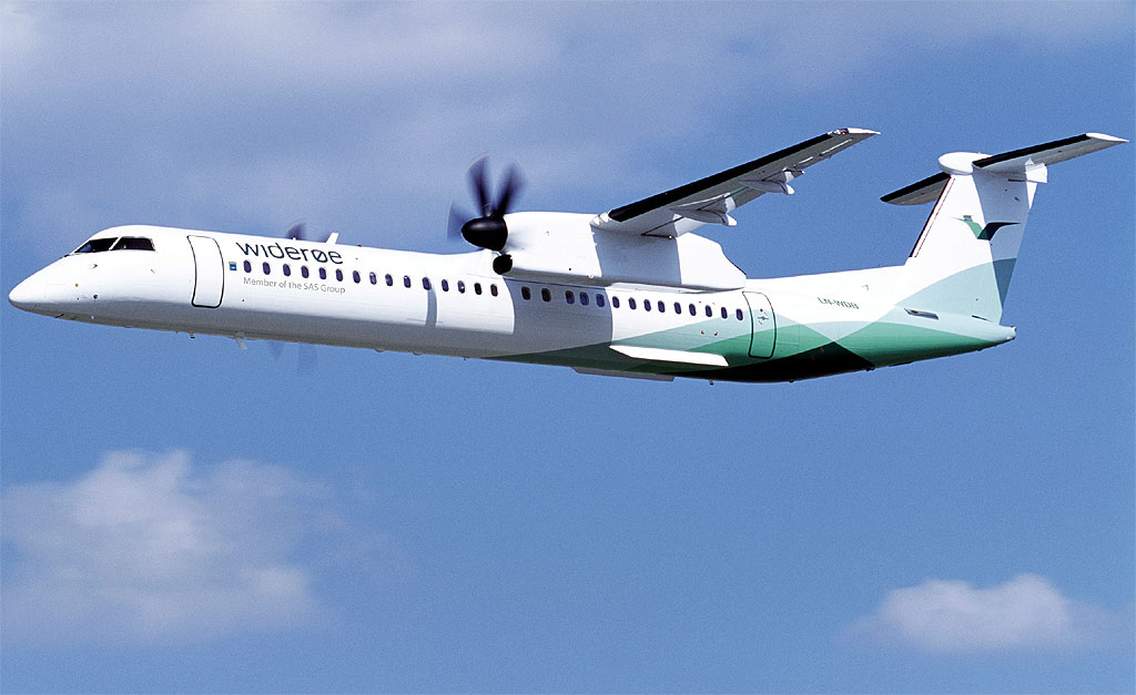 En av Widees Dash 8-Q400-maskiner. Foto fra Wideres Flyevelskap AS