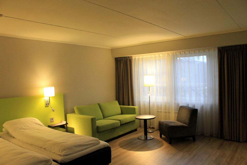 Et av rommene i nyrenoverte Thon Hotel Hallingdal. Foto fra Thon Hotels