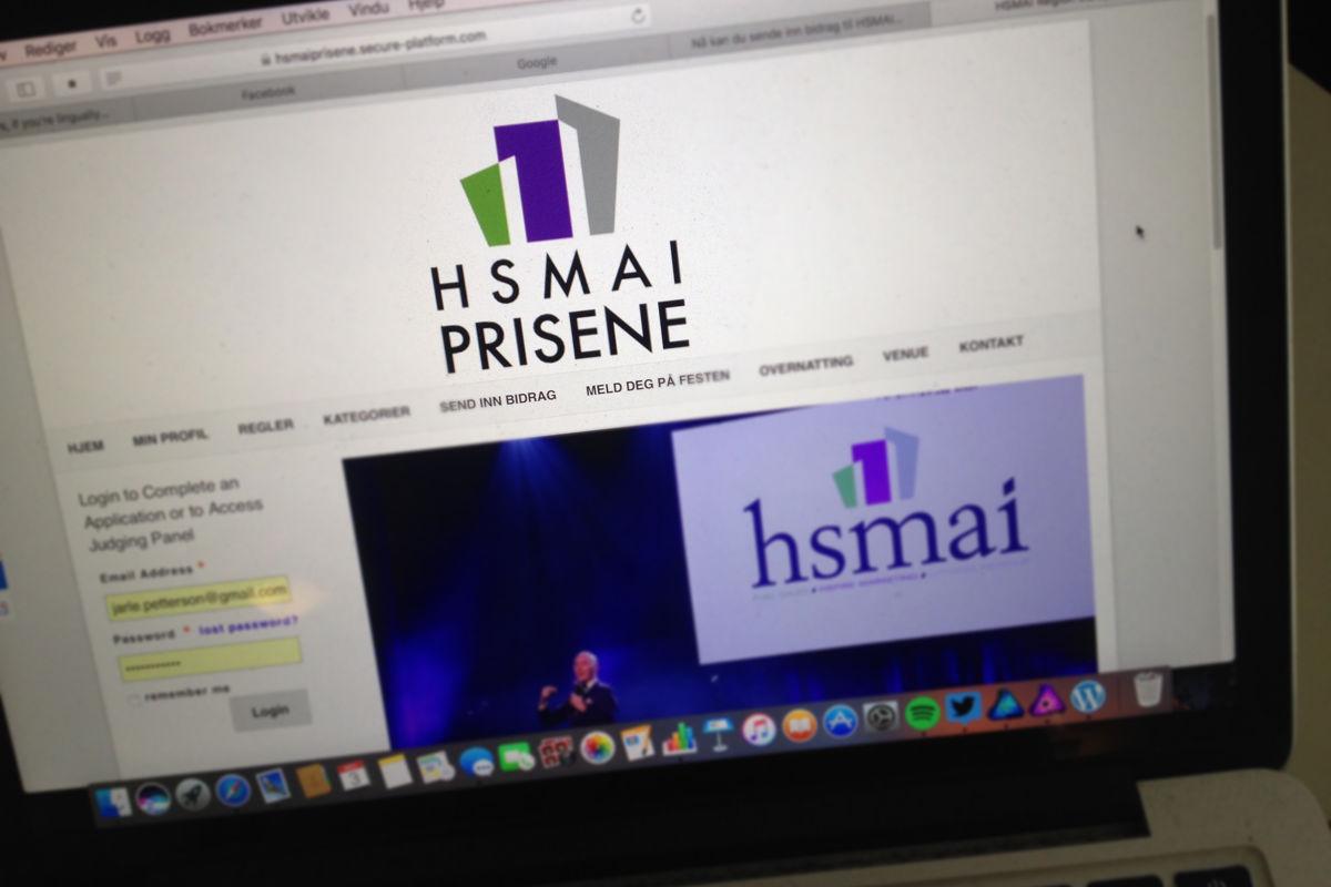 Det nye nettstedet for HSMAI-prisene. Fotograf: Jarle Petterson.