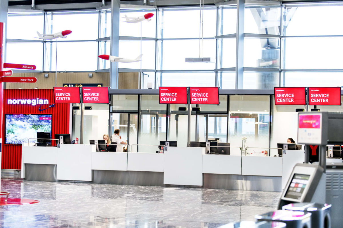 Norwegians nye kundeområde i avgangshallen i Oslo lufthavn. Foto fra Norwegian.