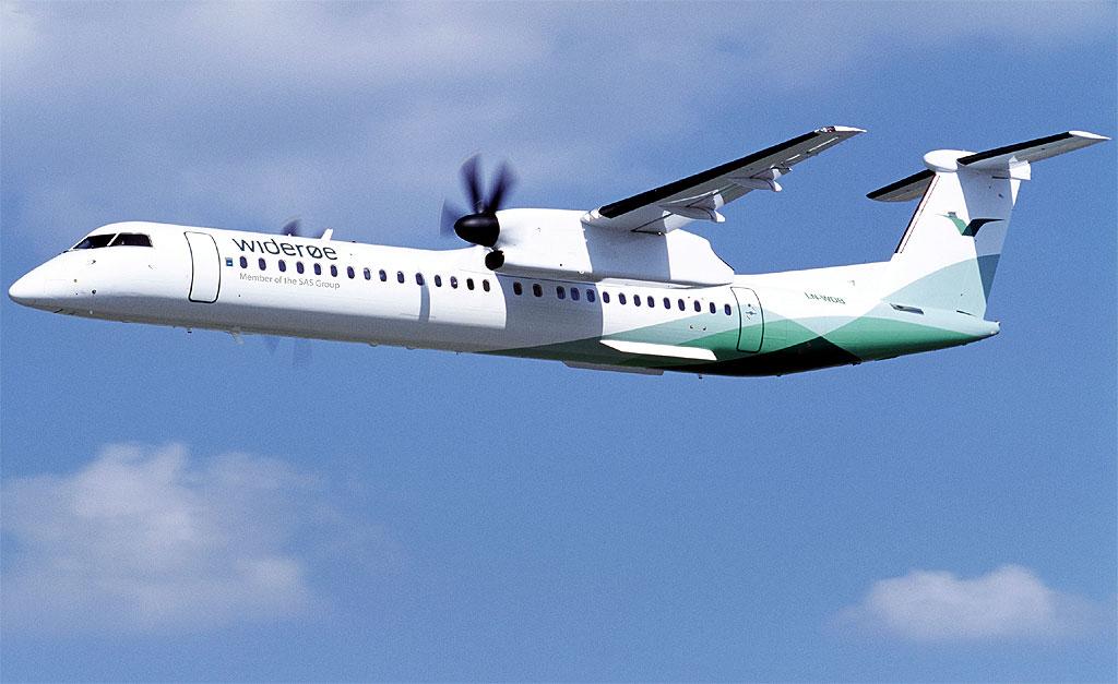 En av Wideøes Dash 8-Q400-maskiner. Foto fra Widerøes Flyevelskap AS
