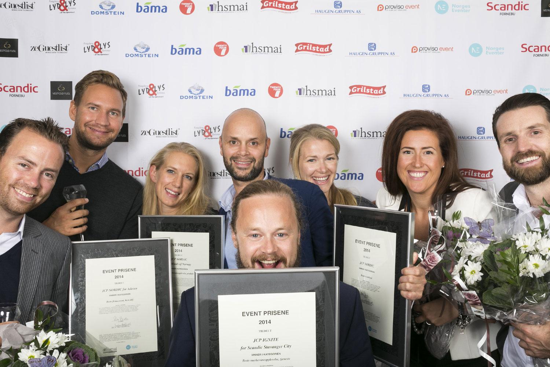En glad JCP-gjeng på HSMAIs første prisutdeling for eventbransjen.