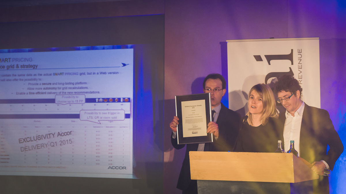 Accor won the 'Best in Class' teknologi - Revenue Management category. Photographers: Gunnar Kopperud/Netta Nyman PhotoWalk/Konferansefotografering