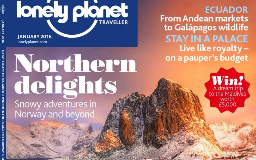 Utsnitt av omslaget til Lonely Planets januarnummer 2016. Fotograf: Justin Foulkes/Lonely Planet