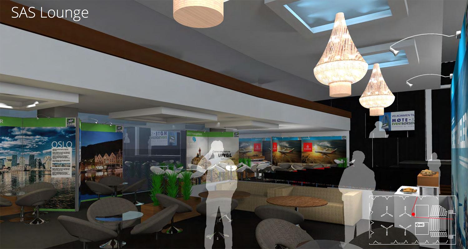 En lounge på HSMAI Møte- og Eventbørsen 2016, slik de er tenkt løst. Skissen er fremstilt av NPG.