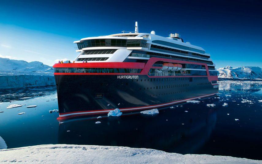 Et av Hurtigrutens fire nye skip. Illustrasjon fra Rolls-Royce.